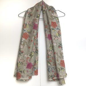 Accessories - Floral Birds Print Big Knit Scarf